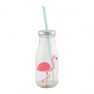 Mini Milk Bottle with Straw - Flamingo