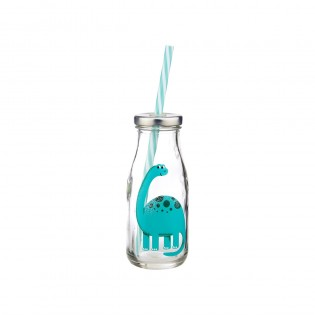Mini Milk Bottle with Straw - Dinosaur