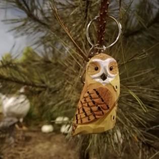 Wooden keychain owl