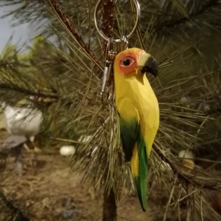 Wooden keychain parrot yellow