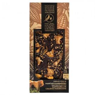Dark chocolate with Cantharellus cibarius, EVOO, and Orange