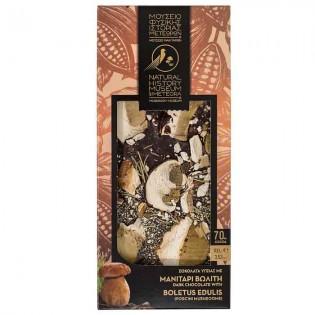 Dark chocolate with Boletus (porcini), EVOO, and Rosemary