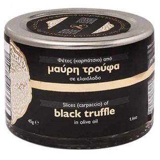 Slices (carpaccio) of Black Truffle in olive oil